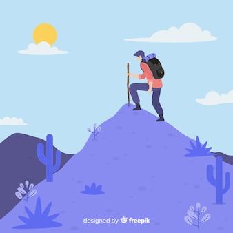 Fondo explorador con mochila dibujado a mano