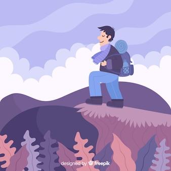Fondo de explorador con mochila