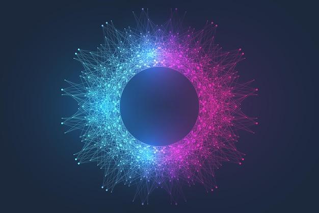Fondo de explosión de visualización de tecnología informática cuántica