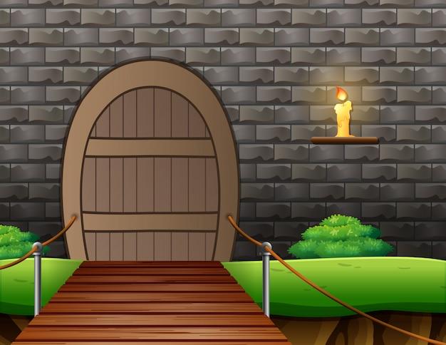 Fondo exterior de una casa con puente colgante