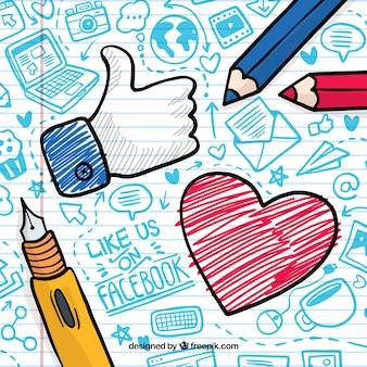 Fondo de facebook con icono de corazón y me gusta