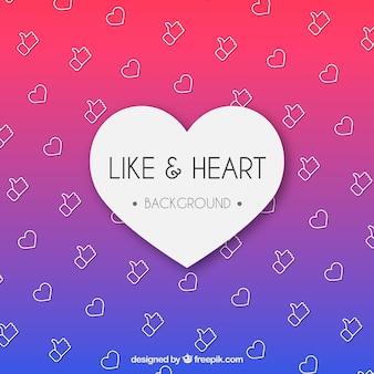Fondo de facebook con iconos de me gusta y corazón