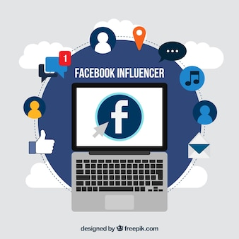 Fondo de facebook influencer con dispositivo y emoticonos