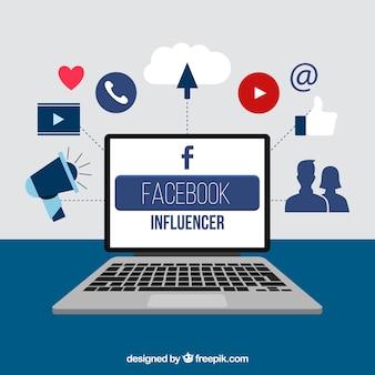 Fondo de facebook influencer con dispositivo y emoticonos