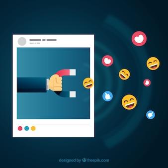 Fondo de facebook influencer con emoticonos