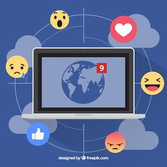 Fondo de facebook con ordenador y emoticonos