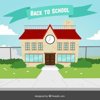 Fondo de fachada de colegio en diseño plano