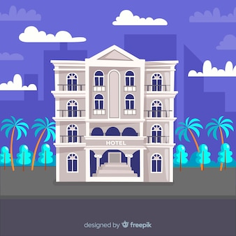 Fondo fachada de hotel plana
