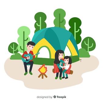 Fondo familia acampando