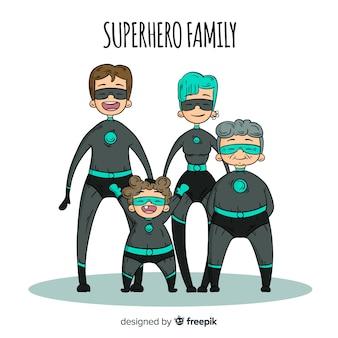 Fondo familia super héroes dibujos animados