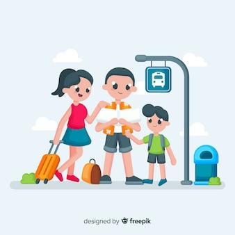 Fondo familia viajando