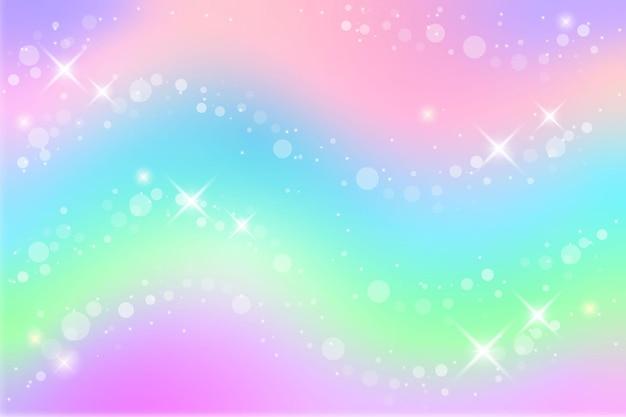 Fondo de fantasía de arco iris ilustración holográfica en colores pastel cielo multicolor con estrellas