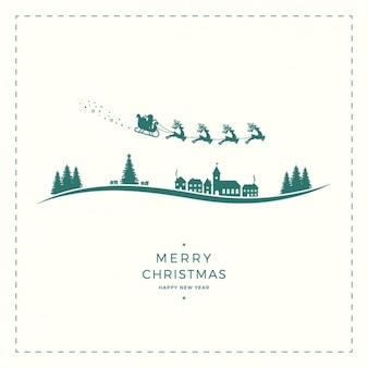 Fondo fantástico con siluetas navideñas