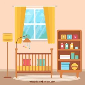 Fondo fantástico de habitación de bebé plana