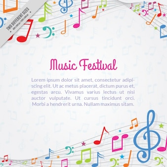 Fondo fantástico con notas musicales coloridas