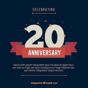 Fondo de feliz aniversario 20 en estilo plano