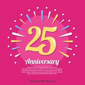 Fondo de feliz aniversario 25 en estilo plano