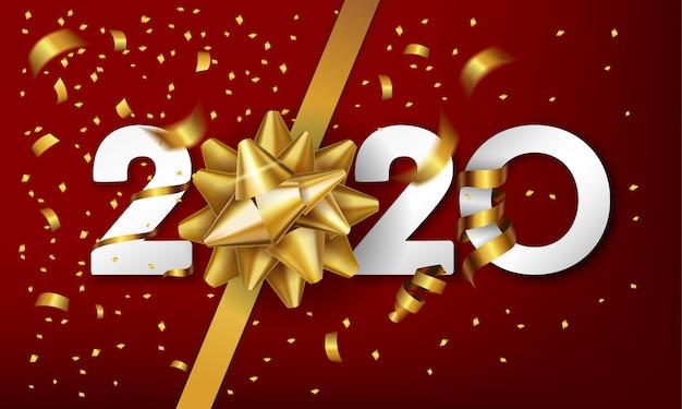 Fondo de feliz año nuevo 2020 con arco de regalo dorado y confeti