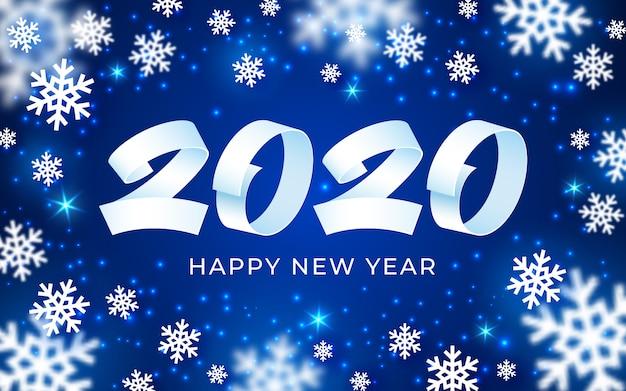 Fondo de feliz año nuevo 2020, texto numérico blanco, azul, tarjeta de invierno de copos de nieve abstractos 3d