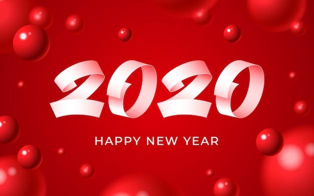 Fondo de feliz año nuevo 2020, texto de número blanco, tarjeta de invierno de navidad de bolas rojas abstractas 3d