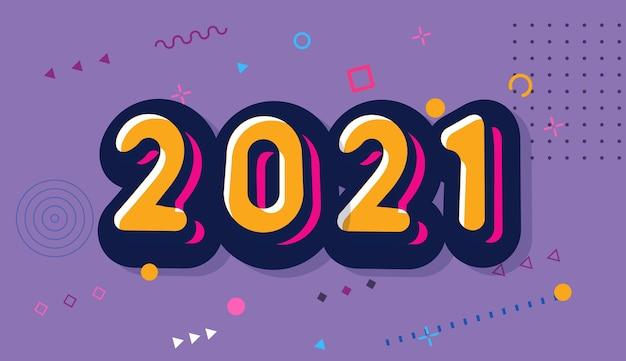 Fondo de feliz año nuevo 2021. estilo cómic.