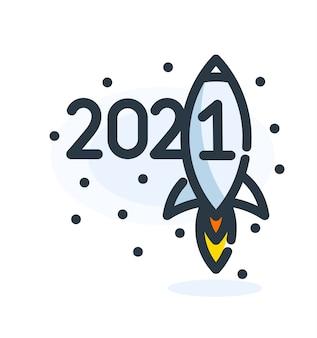 Fondo de feliz año nuevo 2021 con icono de cohete.