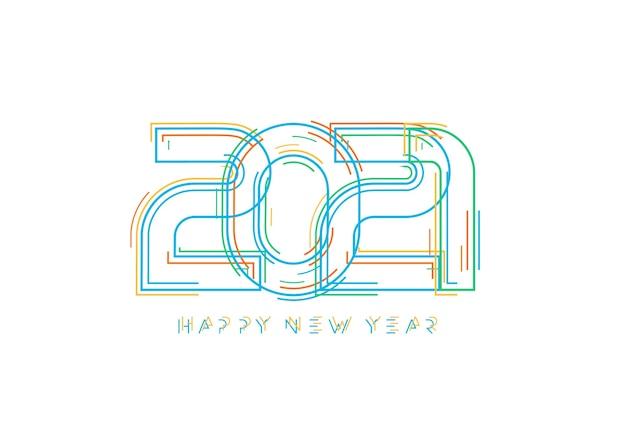 Fondo de feliz año nuevo 2021. logotipo de estilo de ciencia ficción de arte lineal.