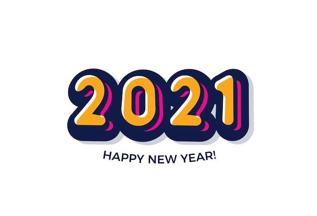 Fondo de feliz año nuevo 2021. logotipo de estilo cómic.