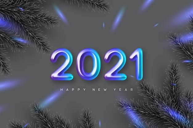 Fondo de feliz año nuevo 2021. mano escribiendo números metálicos 3d 2021 con ramas de pino. fondo monocromático con contraste azul.