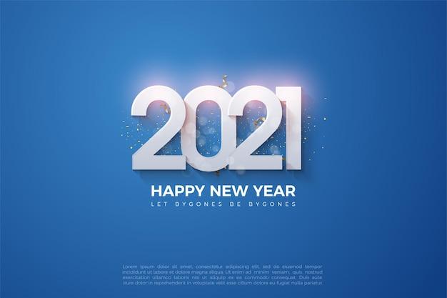 Fondo de feliz año nuevo 2021 con números brillantes sobre fondo azul oscuro
