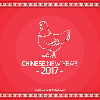 Fondo de feliz año nuevo con boceto de gallo