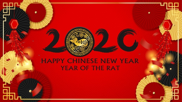Fondo de feliz año nuevo chino 2020. con abanico de papel chino y petardos. estilo de arte de papel. feliz año de ratas .