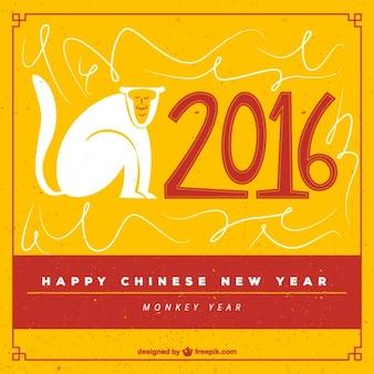 Fondo de feliz año nuevo chino dibujado a mano