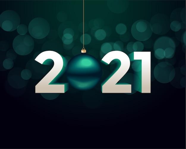 Fondo de feliz año nuevo de estilo 3d 2021 con bola de navidad