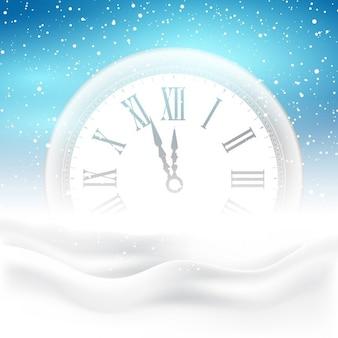 Fondo de feliz año nuevo con el reloj ubicado en la nieve