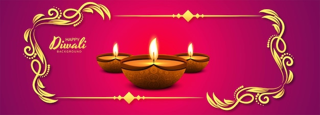 Fondo feliz de la bandera de la celebración de la lámpara de aceite de diwali