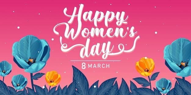 Fondo feliz de la bandera del día de las mujeres