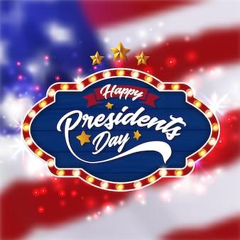 Fondo feliz de la bandera del día de los presidentes y tarjeta de felicitación