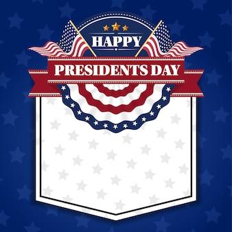 Fondo feliz de la bandera del día de los presidentes y tarjetas de felicitación