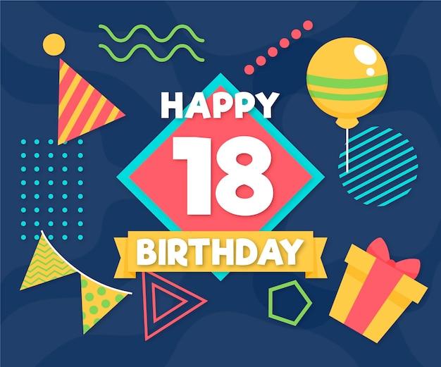 Fondo feliz cumpleaños 18 con globos y gorro de fiesta