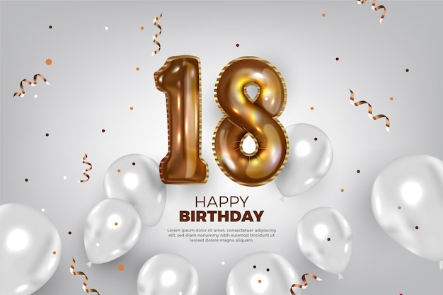 Fondo de feliz cumpleaños 18 con globos realistas