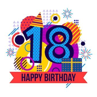 Fondo feliz cumpleaños 18 con gorro de fiesta