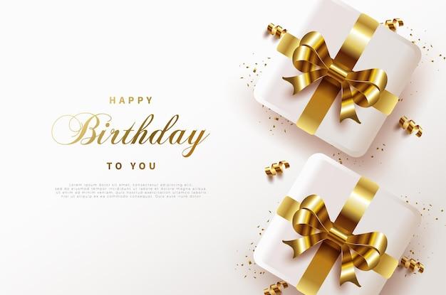 Fondo de feliz cumpleaños con 2 cajas de regalo de cinta dorada.