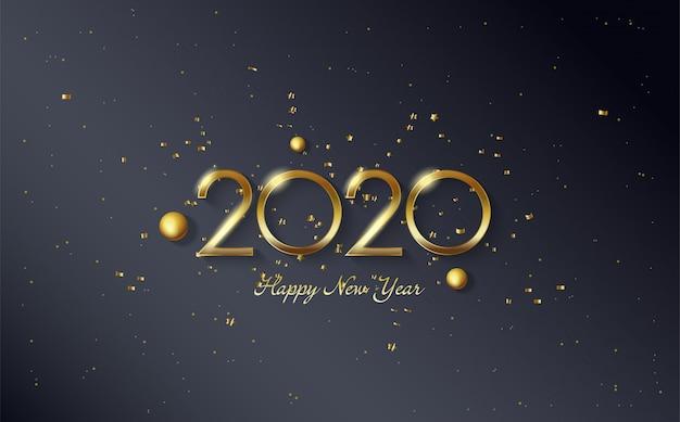 Fondo de feliz cumpleaños 2020 con cuentas doradas y figuras doradas