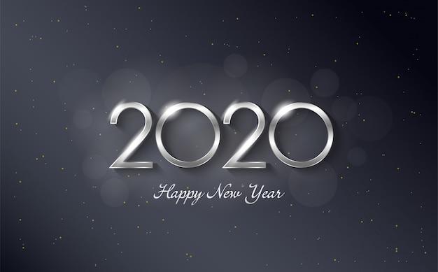 Fondo de feliz cumpleaños 2020 con elegantes y lujosas figuras de color plateado