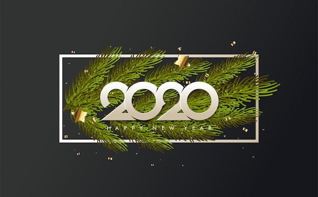 Fondo de feliz cumpleaños 2020 con ilustraciones de hojas de pino bajo números blancos