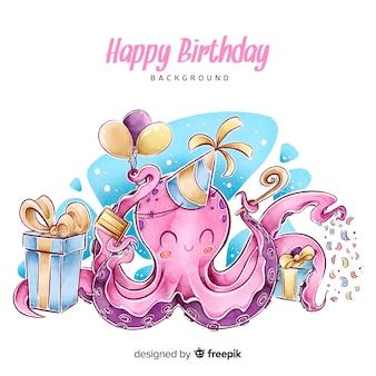 Fondo de feliz cumpleaños en acuarelaballo