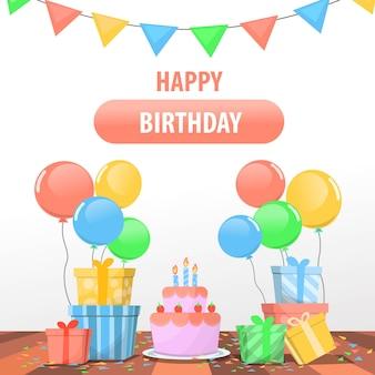 Fondo feliz cumpleaños con algunos regalos y globos de regalo