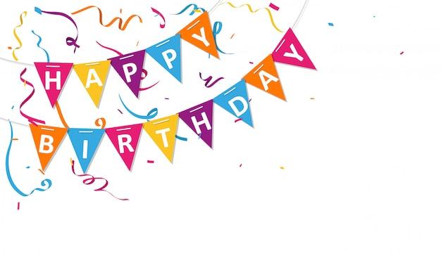 Fondo de feliz cumpleaños con banderas del empavesado y confeti