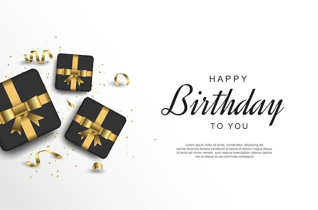 Fondo de feliz cumpleaños con cinta y caja de regalo realista.